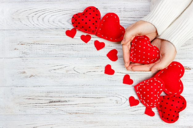 Valentine gift in holiday decoration,  copyspace Premium Photo