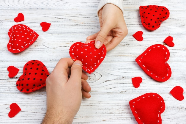 Valentine gift in holiday decoration Premium Photo