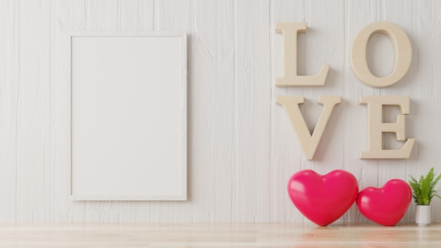 Valentine room with poster on white wall. Premium Photo