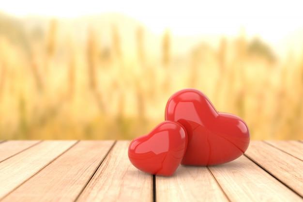 Valentine's day background, 3d rendering. Premium Photo