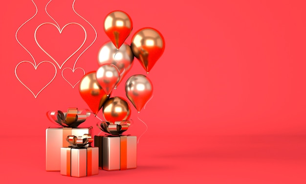 Valentine's day background with realistic festive gifts box. 3d render Premium Photo