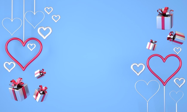 Valentine's day background with realistic festive gifts box. 3d render. Premium Photo