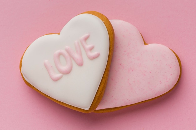 Valentine's day concept with delicious cookies Free Photo