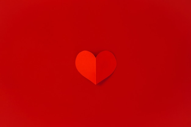 Valentine's day concept with red hearts,  flat lay, copy space Premium Photo