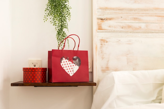 Valentine's day gift on bedroom shelf Free Photo