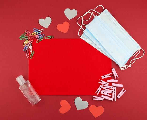 Плоская медицинская планировка ко дню святого валентина Premium Фотографии