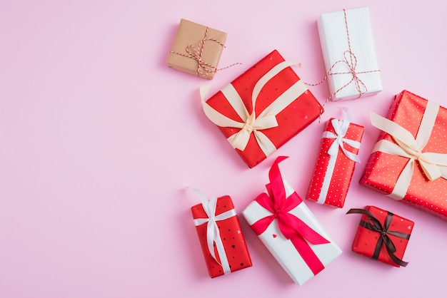 Valentine's day presents in beautiful wrappings Free Photo