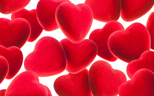 Valentine's day red background with hearts. Premium Photo