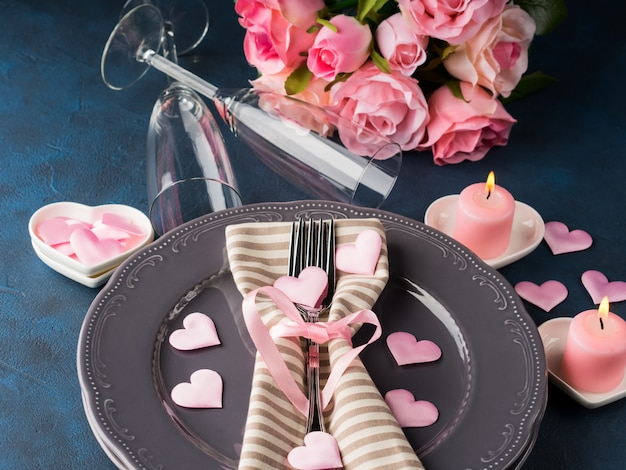 Valentine's day romantic date concept with candles Premium Photo