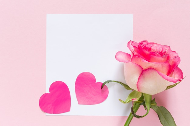 Valentine's day rose heart with frame and copy space on pink festive background Premium Photo