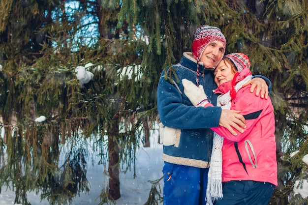 Valentine's day. senior family couple hugging in winter forest. happy man and woman walking outdoors. Premium Photo