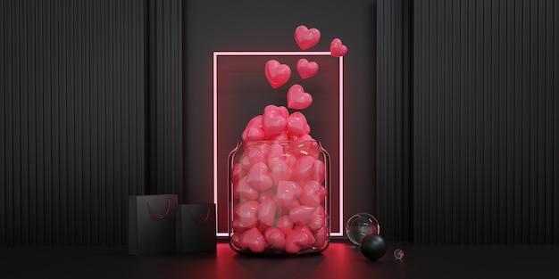 발렌타인 데이 쇼케이스가 장식합니다. 발렌타인과 결혼식 배경에 대 한 개념입니다. 3d 렌더링. 프리미엄 사진