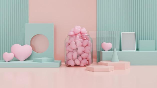 발렌타인 데이 쇼케이스는 사랑과 기하학 디자인 모양으로 장식합니다. 발렌타인과 결혼식 배경에 대 한 개념입니다. 3d 렌더링. 프리미엄 사진