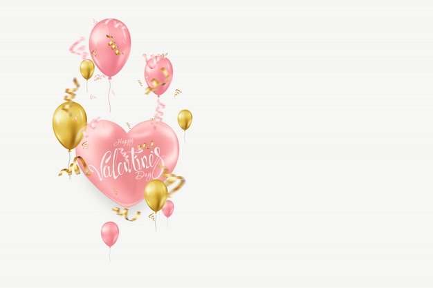 Valentine's day with pink and gold balloons on light Premium Photo