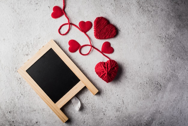 Valentines background with blank blackboard Free Photo