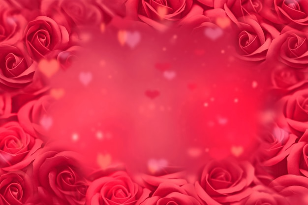 Valentines day background, red roses and blured hearts on abstract romantic background. valentines day concept. Premium Photo
