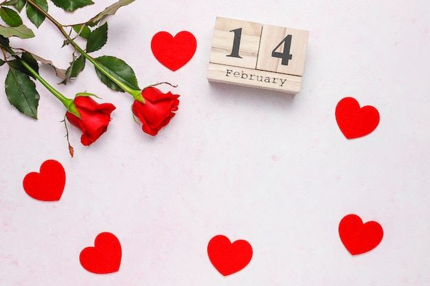 Valentines day background, valentines day card with roses Free Photo