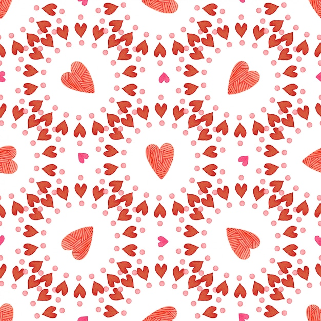Valentines day background. watercolor red hearts seamless pattern. romantic Premium Photo