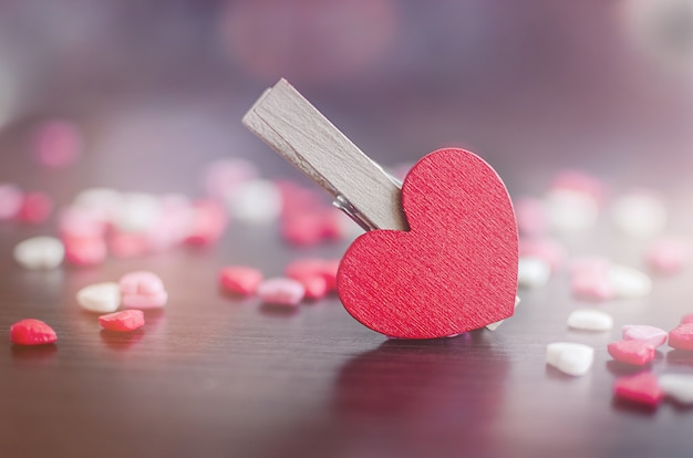 Valentines day background with hearts Premium Photo