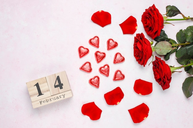 Valentines day card with roses Free Photo