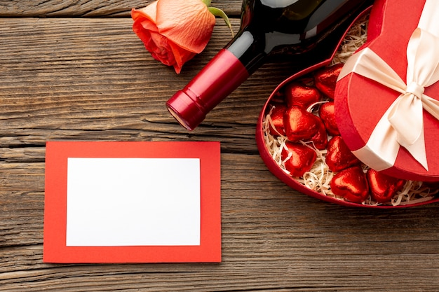 Valentines day dinner assortment with empty frame Free Photo