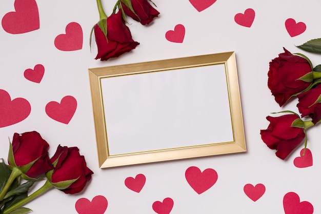 Valentines Day Empty Frame Seamless White Background Kisses