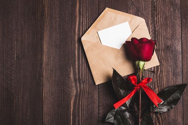 Valentines day envelope love letter with greeting card mothers day red rose Free Photo