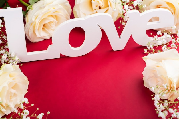Valentines day greeting card on red Premium Photo