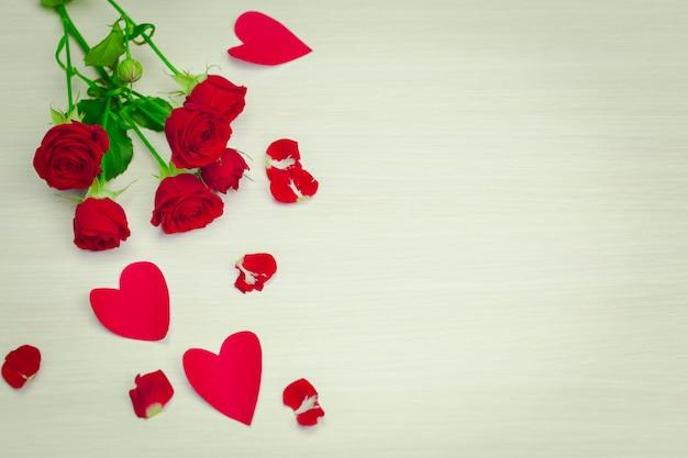 Valentines day petals and hearts Premium Photo