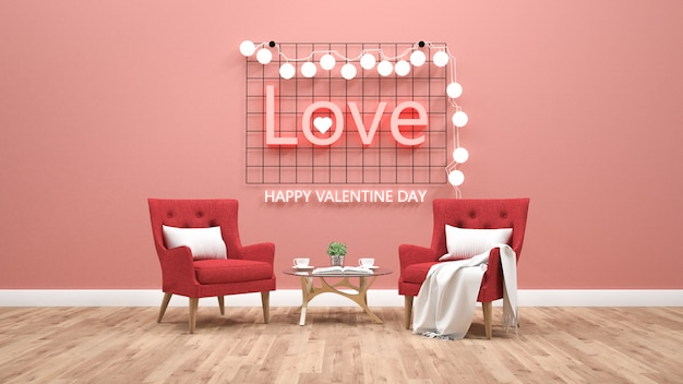 Valentines day theme with light text on wall. 3d rendering Premium Photo