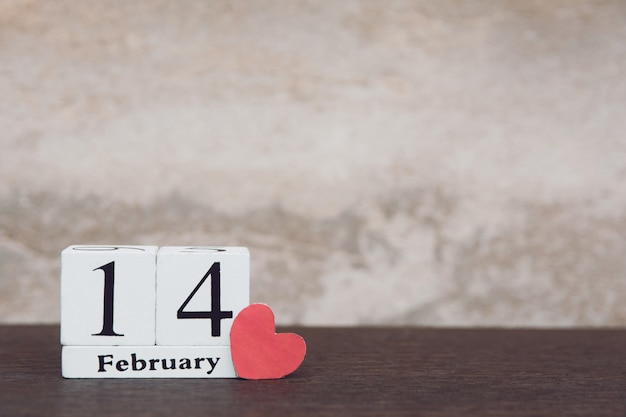Valentines day with february 14th  wooden white block