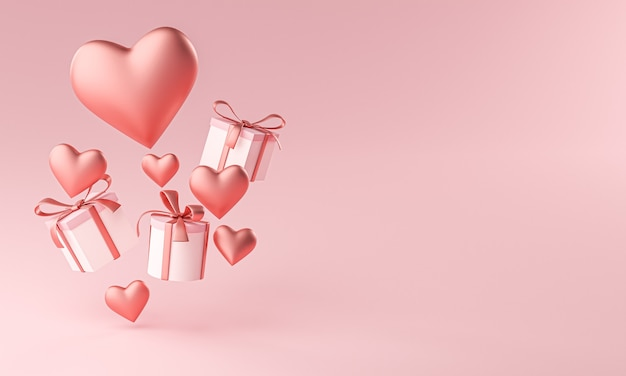 バレンタインハートシェイプとギフトボックスフライングコピースペース3dレンダリング Premium写真