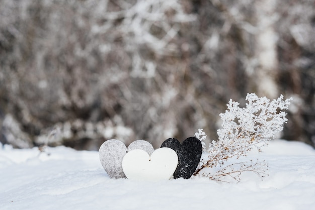 Valentines hearts on winter snow background. valentines day concept. Free Photo