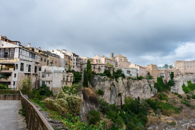 Valley where the casas colgadas(hanging houses) are located in cuenca Premium Photo