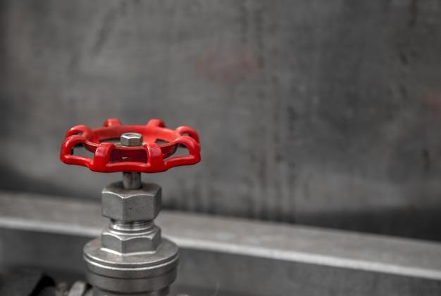 Valve red background clear concept Premium Photo