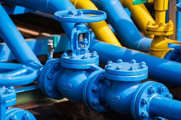 Valves at gas plant Premium Photo