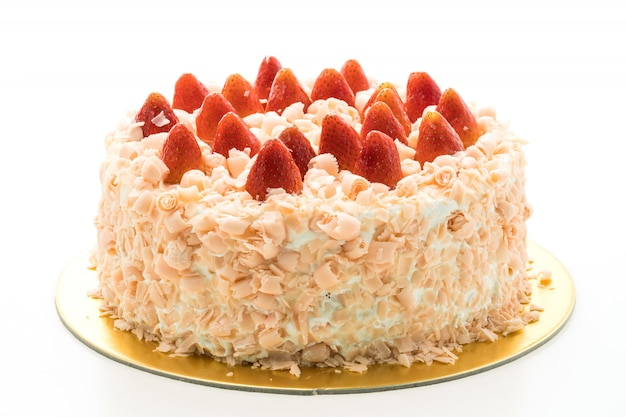 Vanilla cake dessert with strawberry on top Free Photo