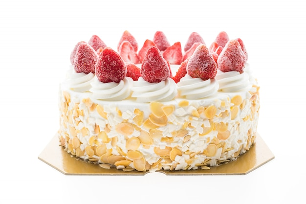 Vanilla ice cream cake with strawberry on top Free Photo