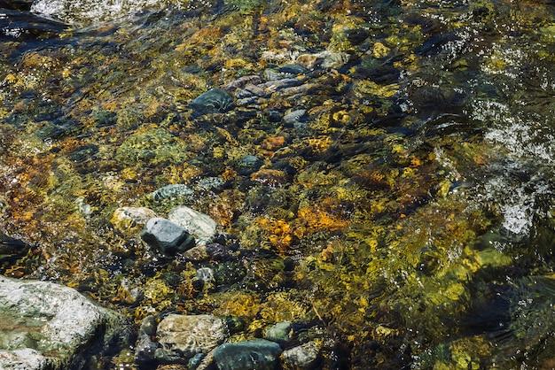 투명 마운틴 크릭의 돌 바닥의 잡색 배경 프리미엄 사진