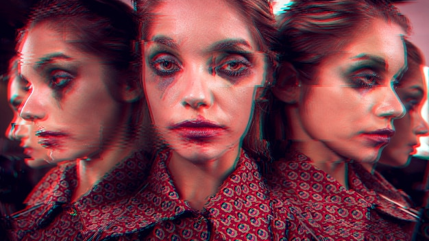 Variety of angles of glitched face of a woman Free Photo