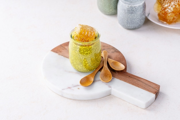Variety of chia puddings Premium Photo