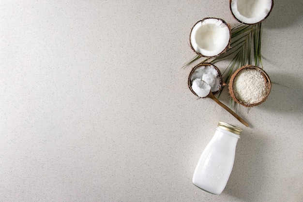 Variety of coconut products Premium Photo