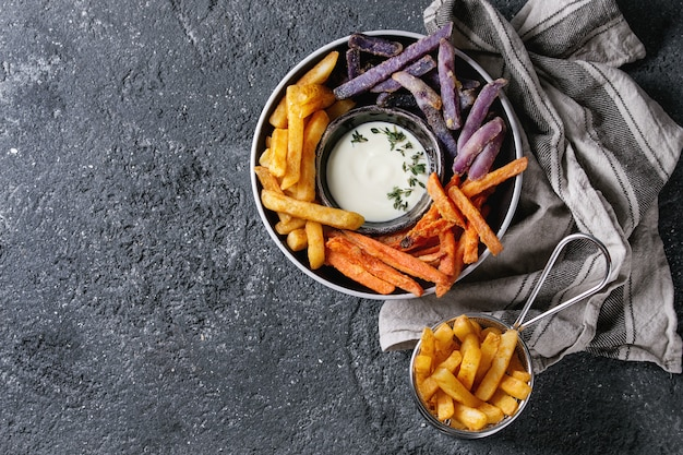 Variety of french fries Premium Photo
