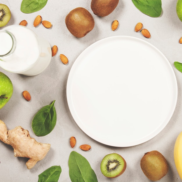 Variety of fresh fruits and nuts Premium Photo