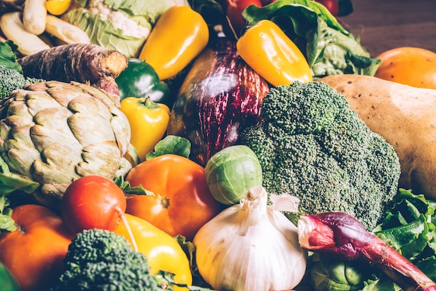 Variety of fresh vegetables to protect against cancer. Premium Photo