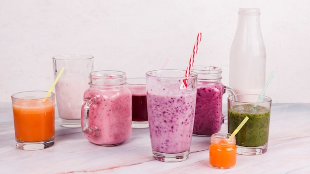 Variety of fruit shakes Free Photo