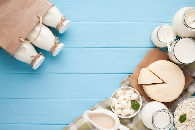 Variety of glass containers for milk Free Photo