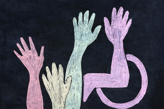 Variety of hand drawn hands inclusion concept Free Photo
