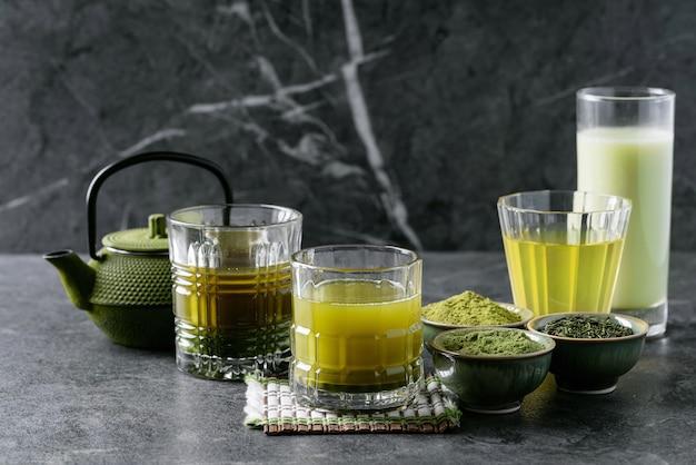 Variety of matcha tea Premium Photo