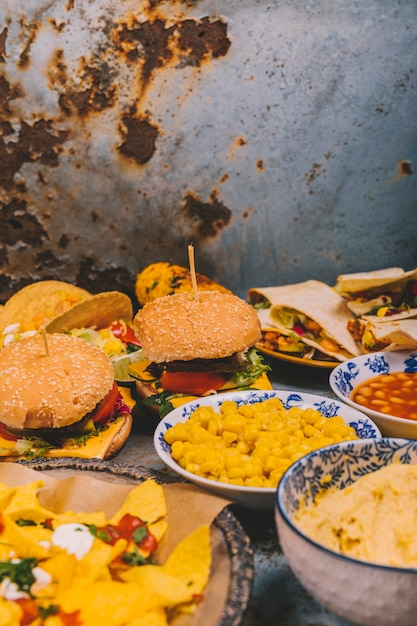 Variety of mexican cuisine breakfast dishes Free Photo